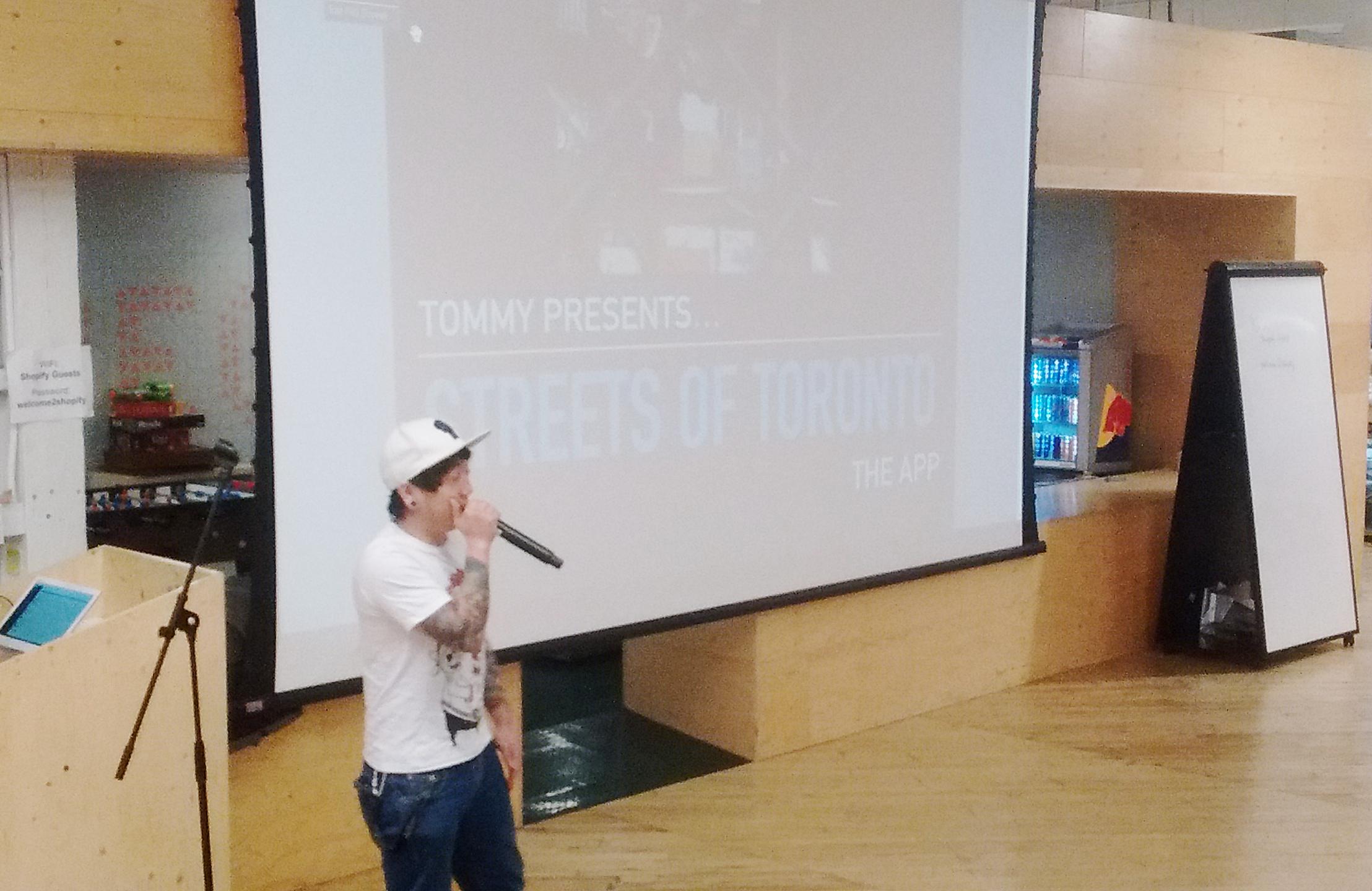 Tommy presenting his HackBridge app