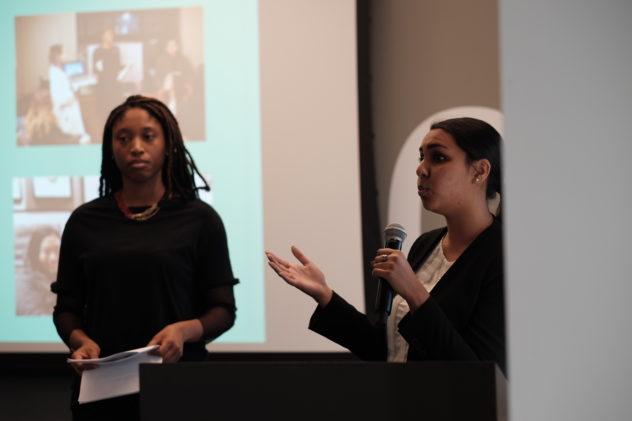 Sarita Parmar and Shanna-Kay Smith presenting at CivicTech for OACToronto