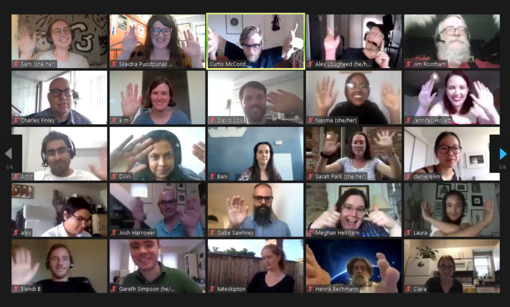 screenshot of a Zoom call with participants waving at the fifth anniversary of Civic Tech